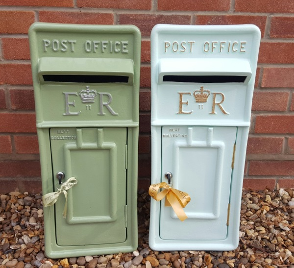 Sage and Mint Green lockable and personalised Royal Mail Wedding Post Box for hire