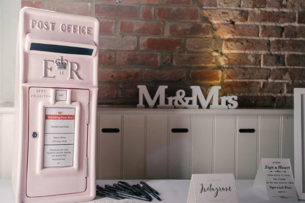 Pastel Pink Wedding Post box in royal mail style