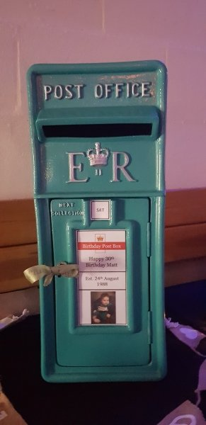 Teal personalised and lockable birthday post box