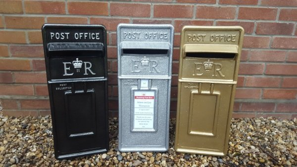 Black, Silver and Gold Glitter lockable and personalised Royal Mail Wedding Post Box for hire