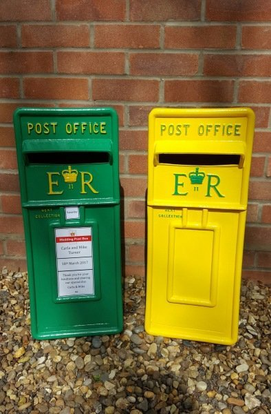 Yellow and Green Norwich City Football Club lockable and personalised Royal Mail Wedding Post Box for hire