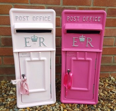 Pastel and Hot Pink lockable and personalised Royal Mail Wedding Post Box for hire