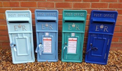 Pastel, Sky, Teal and Royal Blue Personalised and Lockable Royal Mail Wedding Post Box