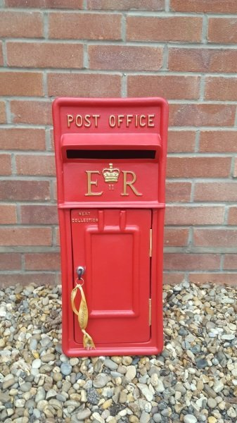 Red lockable and personalised Royal Mail Wedding Post Box for hire