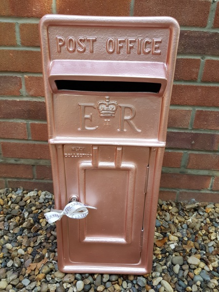 Rose Gold lockable and personalised Royal Mail Wedding Post Box for hire