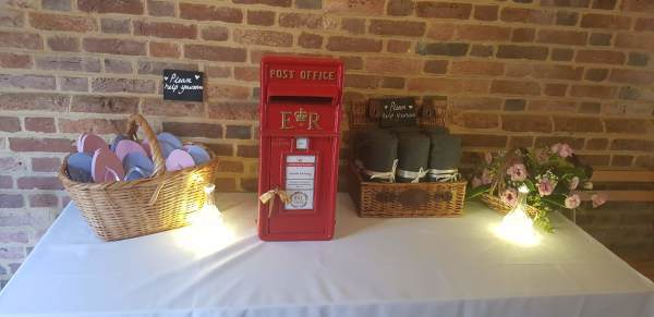 Red cast iron royal mail wedding post box