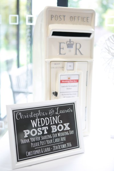 White royal mail wedding post box hire, personalised and lockable
