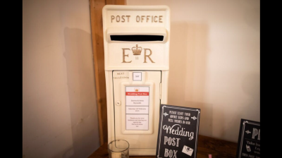 An Ivory Wedding Post Box available for hire, personalised and lockable