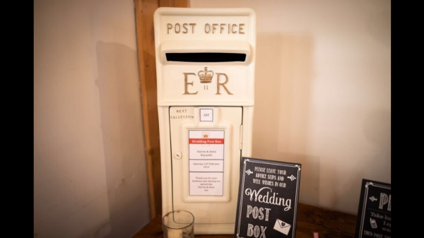 An Ivory Wedding Royal Mail Post Box, personalised and lockable.